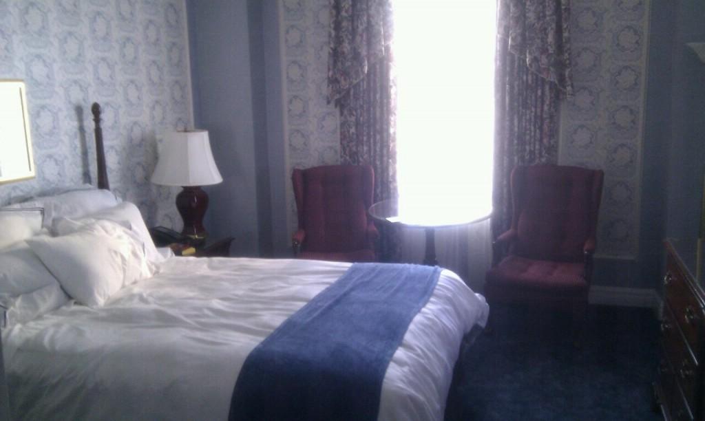 My fancy room at the Hotel Saskatchewan.
